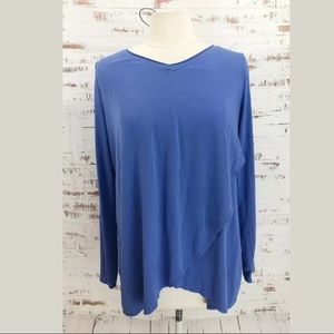 Soft Surroundings Tiered V-Neck Top Blue Long Slee